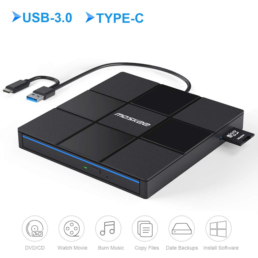 Moskee Type C External CD DVD Drive,with USB Port SD Card Slot USB 3.0 Portable CD/DVD +/-RW Drive Rewriter Burner Data Transfer for MacBook,Laptop,Windows,Linux and Mac OS by Moskee