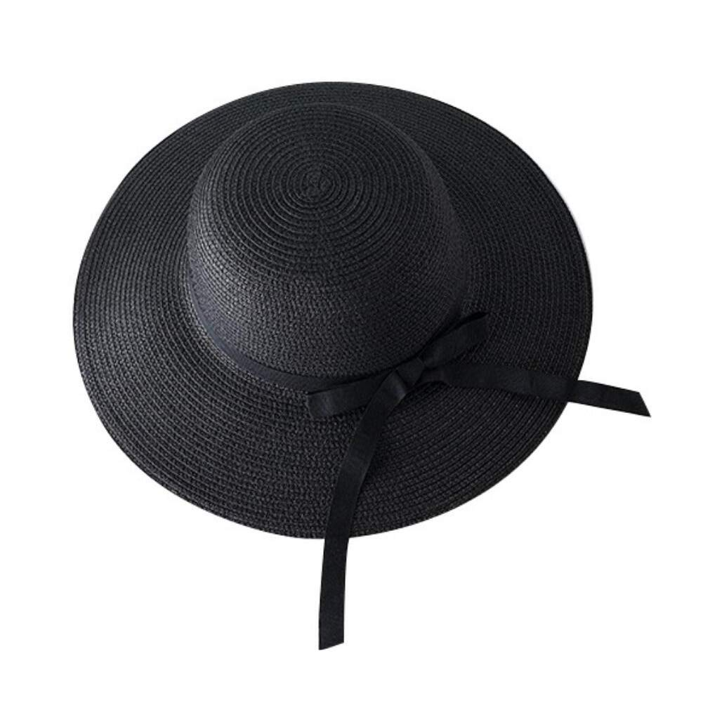 1PCS Fashionable Seaside Sunscreen Hats Black Solid Color Straw Helmet Adjustable and Foldable Breathable Big Eaves Cap Beach Hat SYBL