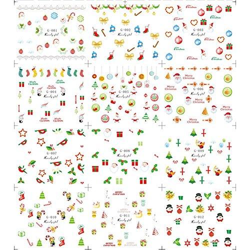Gracefulvara 5 x 12 Sheets Halloween Christmas Nail Art Stickers, Pumpkin & Skull Snowflakes & Cute Snowmen Nail Decals
