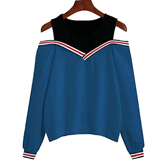 Amazon.com: Jumper Sweatshirt Off Shoulder Patchwork Hoodies Top Autumn Winter Crew Neck Pullovers Tracksuit Ladies Tops: Clothing