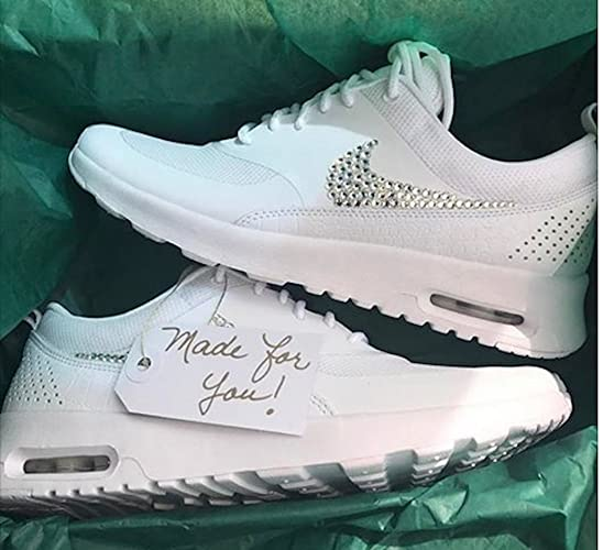 Bling Nike air max thea, White Nike air max thea, Womens Nike air max sneakers, Swarovski Nike shoes, Blinged out nike air max, White Nikes