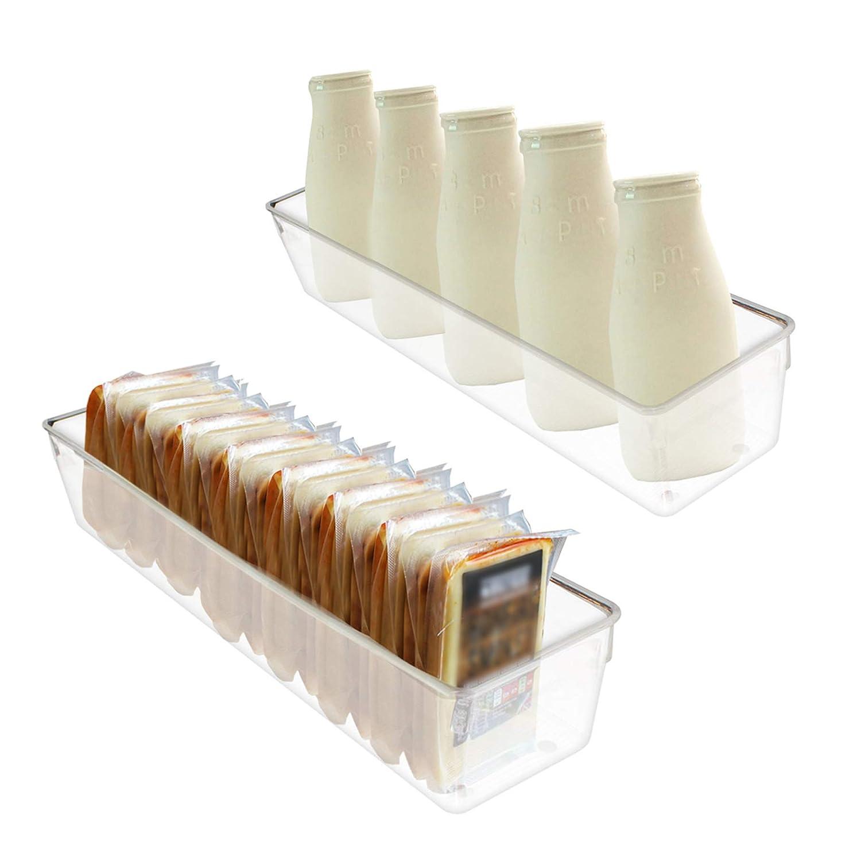 Kurtzy 2 Pack Fridge Storage Bins - Acrylic Clear Transparent Refrigerator & Pantry Kitchen Containers Space Saving Freezer Organizer Vegetables Fruits 41cmx10cmx8cm Long Kitchen Storage Box EX-2006