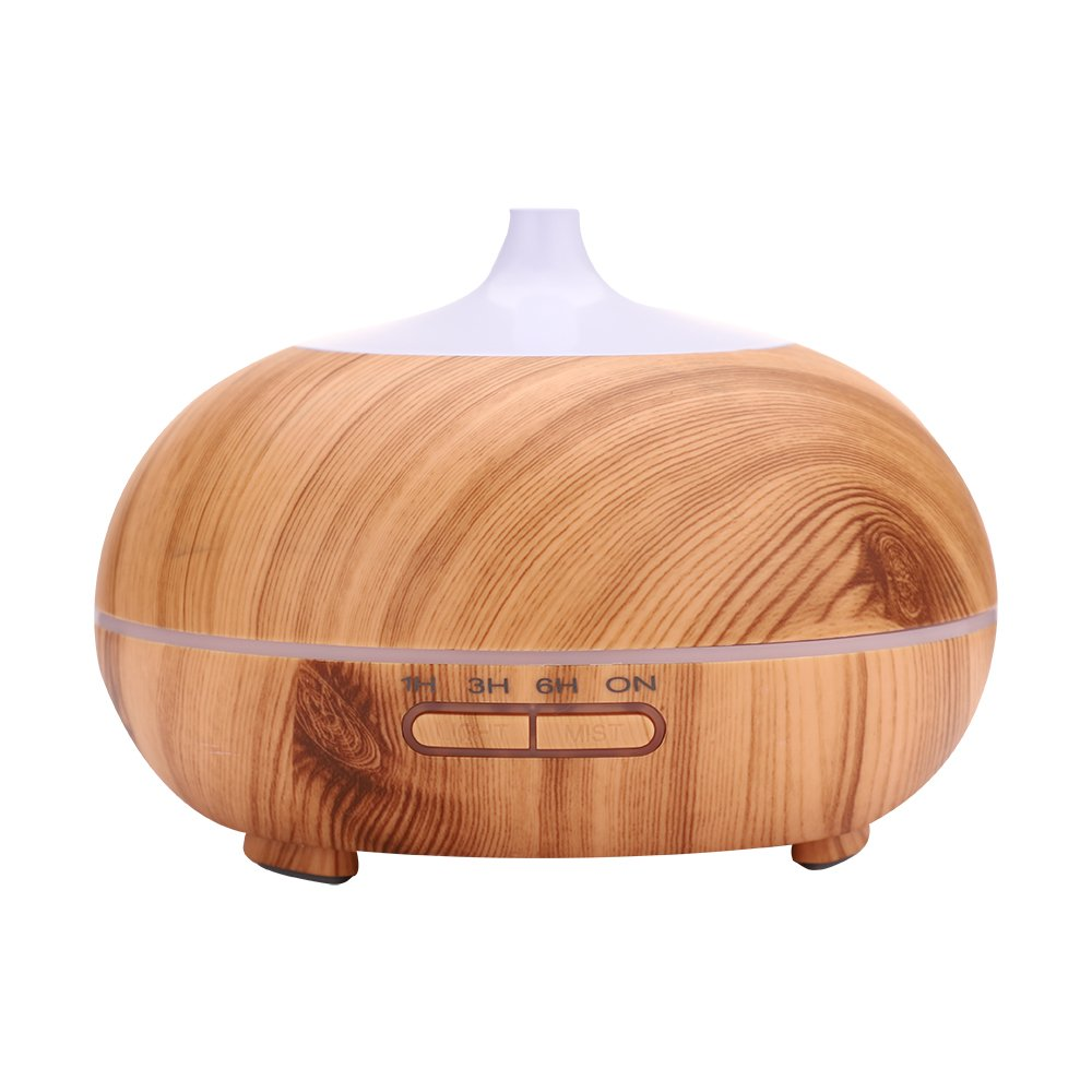 VTurboWay 300ml Aroma Diffuser, 6 Hour Capacity 7 Soothing LED Light Cool Mist Room Humidifier(Color:Wood Grain)
