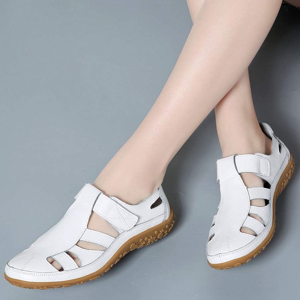 Sandals THENLIAN Lady Retro Solid Color Versatile Flat Shoes Casual Soft Fashion Hiking Sandals(37, White)