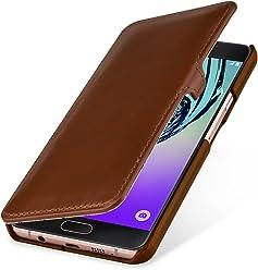 StilGut Book Type Case con Clip, Custodia in Vera Pelle per Samsung Galaxy A7 (2016), Cognac