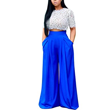 0d6effadda4a YYF Women s 2 Pieces Lace See-through T-shirt Wide Leg Loose Pants Outfit