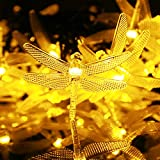 Kumedia Dragonfly Shape 19.7 ft 30 LEDs Solar Powered String Lights, Waterproof, 2 Modes (Steady, Flash) for Outdoor, Garden, Stage, Christmas Decorations (Warm White)