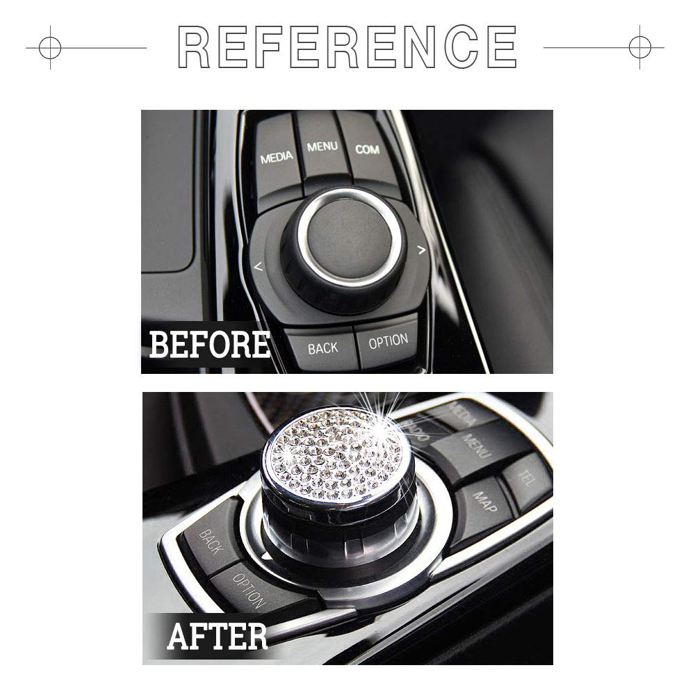1797 BMW Accessories Parts Engine Start Stop Button Caps Covers Decals Stickers Bling Interior Decorations 3 5 7 Series X1 X2 X3 X4 X5 X6 F30 F31 G30 G31 F13 G12 G01 F15 F16 F26 xDrive AWD Women Men Crystal Rhinestone Gold Pack of 2
