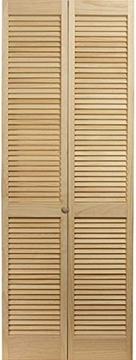LTL Home Products 874130LB Sedona Louvered Bottom Bifold Interior Wood Door Unfinished Pine 36 x 80