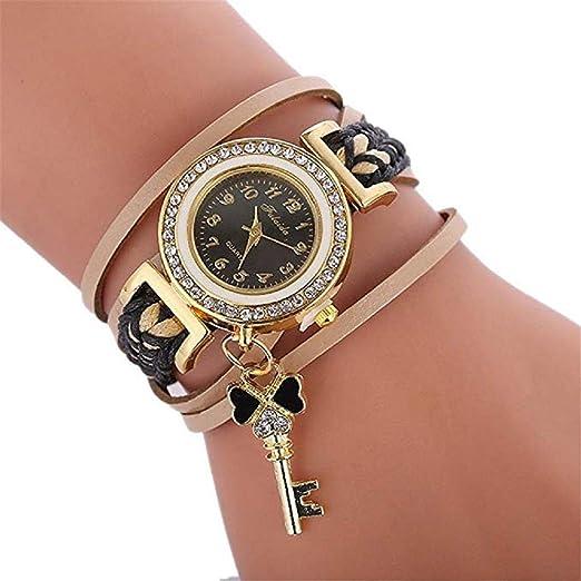 Amazon.com: Windoson Womens Luxury Crystal Quartz Bracelet Watches Ladies Round Woven Wrap Around Leather Analog Wrist Watch Fashion Wristwatch Rhinestone ...