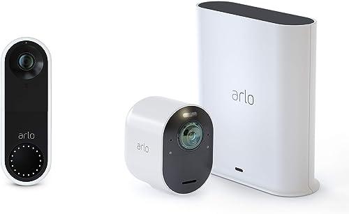 Arlo Ultra – 4K UHD Wire-Free Security Camera, Color Night Vision, Spotlight, 2-Way Audio, Indoor Outdoor with Arlo Video Doorbell