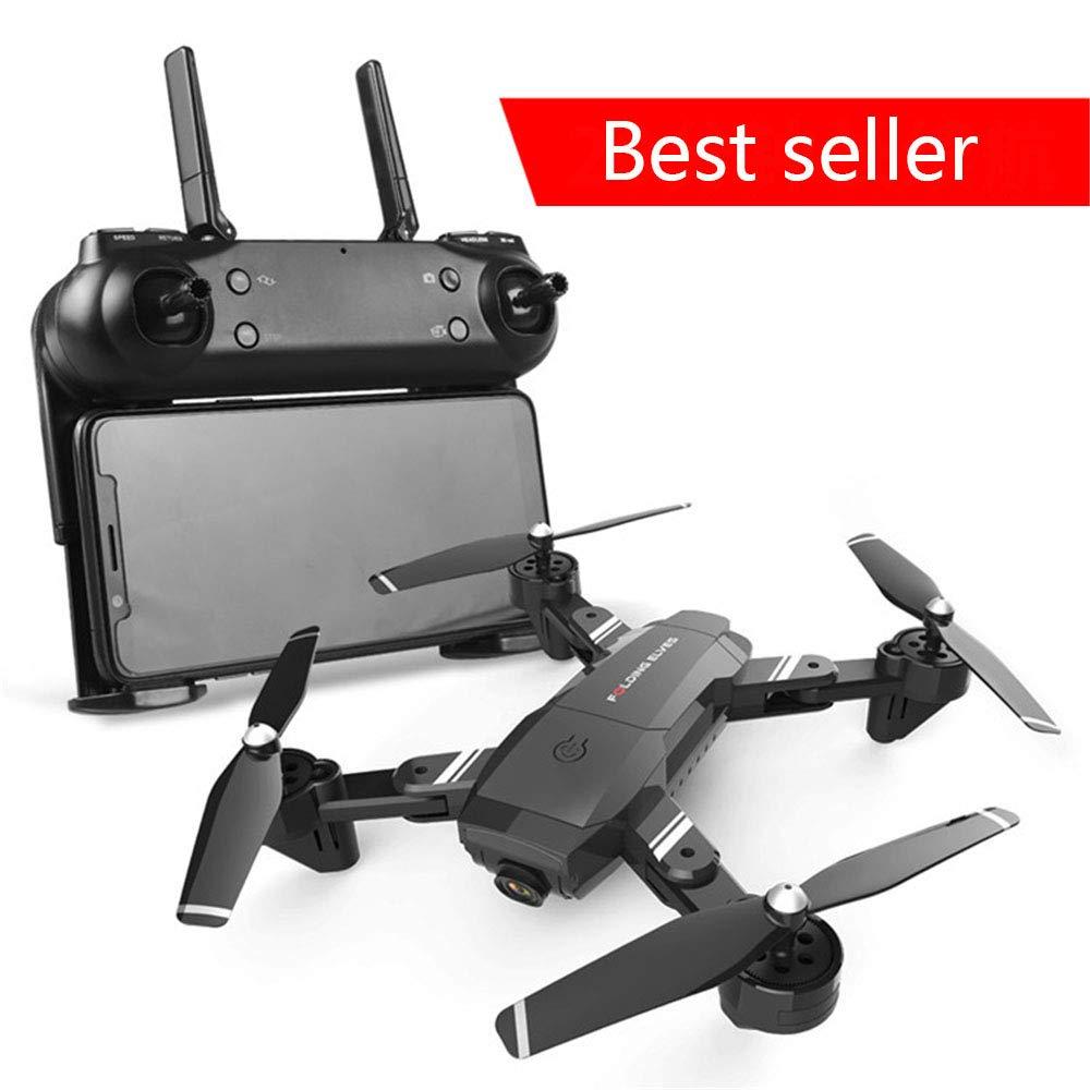 WANGKM Drohne Falten Falten Luftaufnahme Ferngesteuerte Flugzeuge Lange Batterie WiFi Übertragung Echtzeitübertragung Gestenerkennung Dual Kamera Vierachsenflugzeuge,schwarz schwarz