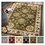 Sultan Sarouk Green Persian Floral Oriental Formal Traditional 9×13 (9'2″ X 12'6″) Oversize Area Rug Stain Fade Resistant Contemporary Floral Thick Soft Plush Mansion Great Room Living Dining Room For Sale