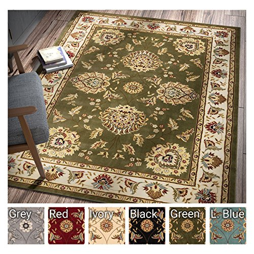 Sultan Sarouk Green Oriental Area Rug Persian Floral Formal Traditional Area Rug 7' x 9' Easy Clean Stain Fade Resistant Shed Free Modern Classic Contemporary Thick Soft Plush Living Dining Room Rug (Sarouk Green Traditional Rug)
