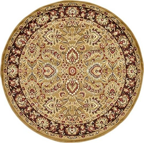 Unique Loom Agra Collection Tan 6 ft Round Area Rug (6' x 6') (Agra Collection)
