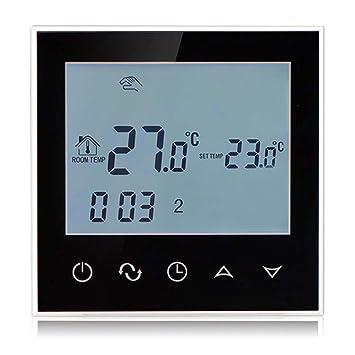 Termostato digital Beok TGT21, programable, inteligente, para suelo radiante, control de temperatura ambiente con pantalla táctil de cristal, negro, ...