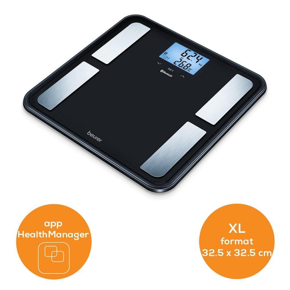 Beurer 748.21 BF 850 Diagnóstico Báscula con superficie extragrande, conexión entre Smartphone y báscula, color negro: Amazon.es: Salud y cuidado personal