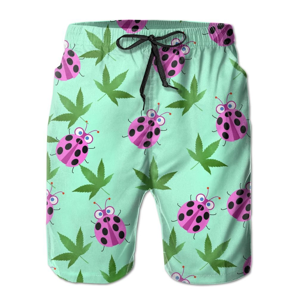 Mens Quick Dry Summer Shorts Boardshorts Ladybugs Weed