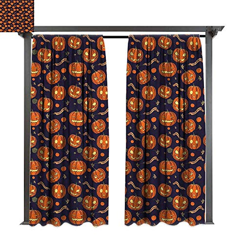 cobeDecor UV Protectant Indoor Outdoor Curtain Panel Halloween Different Pumpkin Faces for Lawn & Garden, Water & Wind Proof W108 xL84