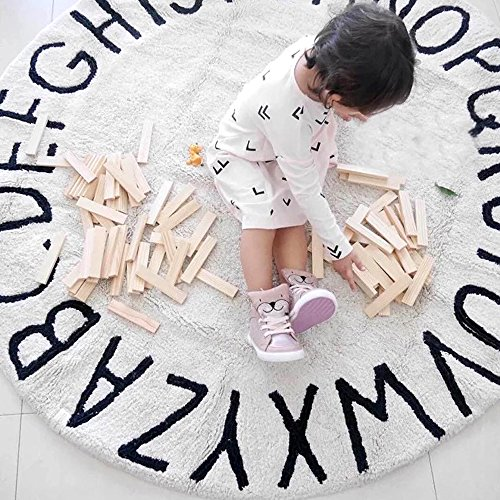 Hiltow Kids Round Rug Letters Learning Area Rug - Non Slip Bottom (Diameter : 47.5 inches)