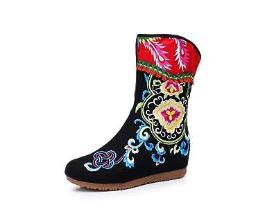 Women's Side Zipper Embroidery Elevator Boots