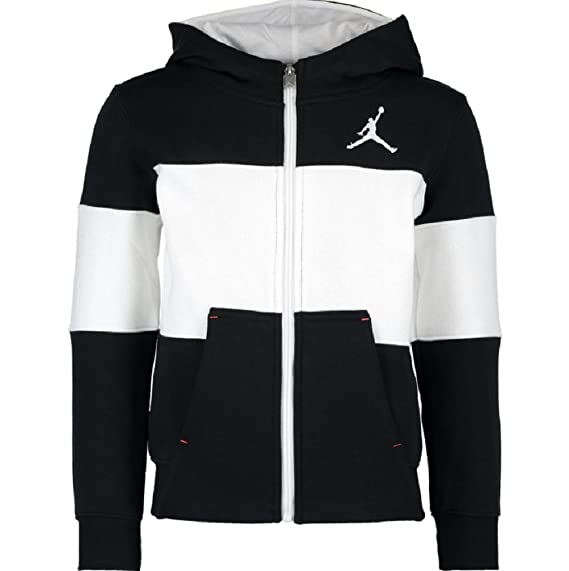 finest selection 17cce 1ad5c Jordan Nike AIR Black White Contrast Zipped Hoodie Sweatshirt Hoodie Size 7  Year  Amazon.co.uk  Clothing