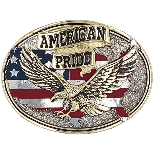 Flag Eagle Belt Buckle - Montana Silversmiths Men's American Pride Belt Buckle, 2.75
