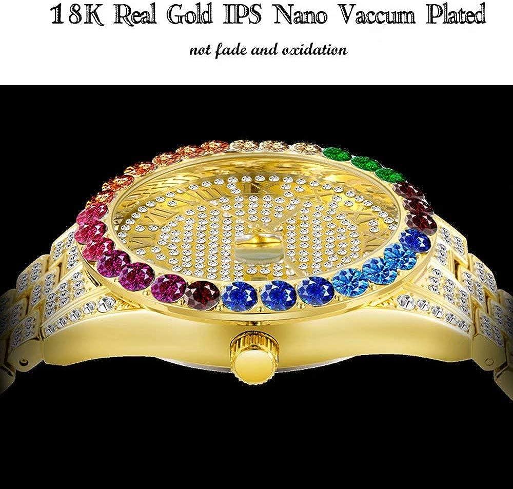 18 Karat Gold Hip Hop Iced Out Herren Big Face Uhr Quarz Armbanduhr Kalender Zifferblatt wasserdichte Rainbow Diamond Uhr Gold