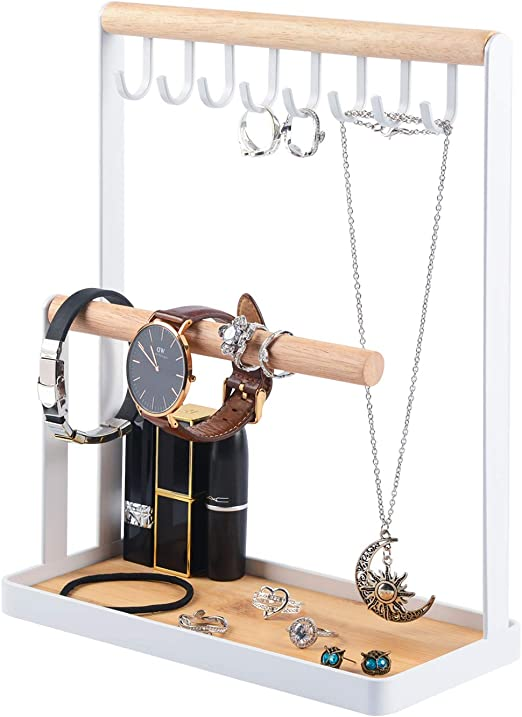 Amazon Com Portin Jewelry Organizer Display Stand Holder With Wooden Ring Tray And Hooks Storage Necklaces Bracelets Rings Watches Metal Desk Organizer Stand Home Improvement