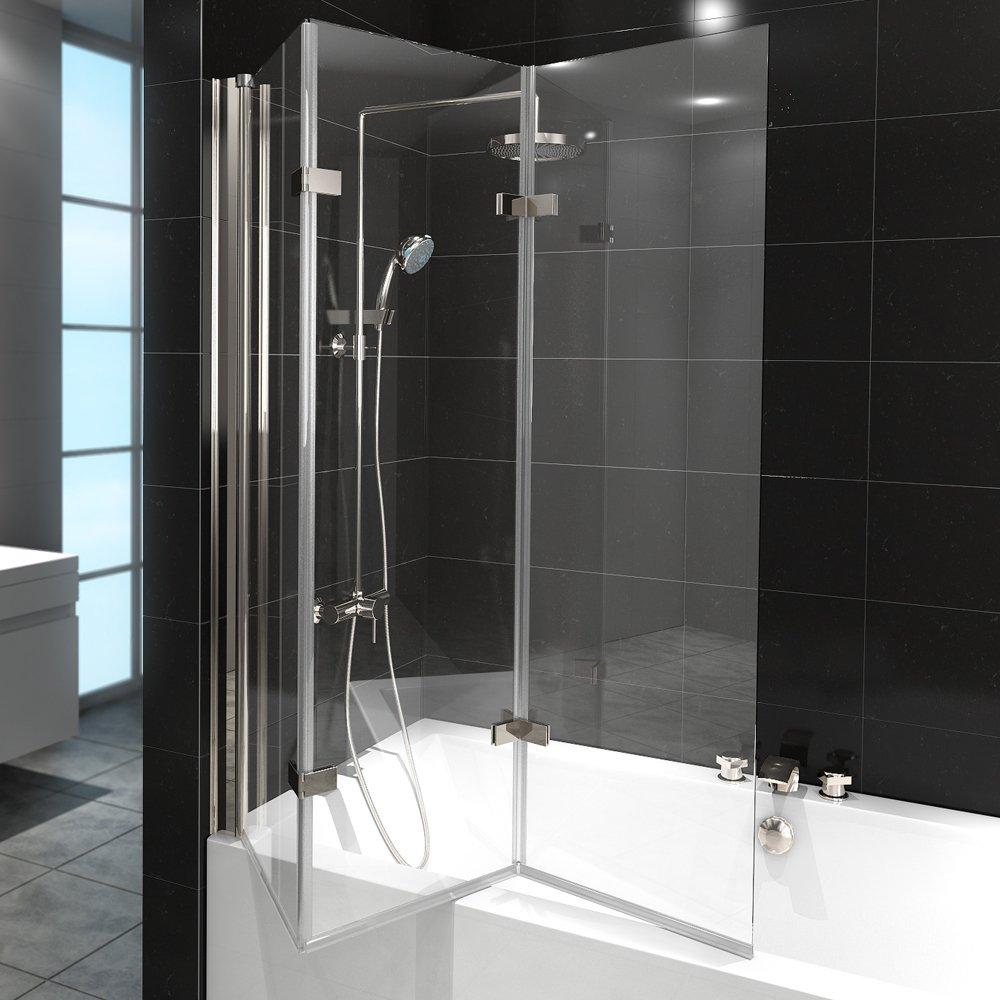 Duschabtrennung Badewanne Duschwand Badewannenfaltwand Glas Dusche ... | {Badewanne mit duschabtrennung 71}