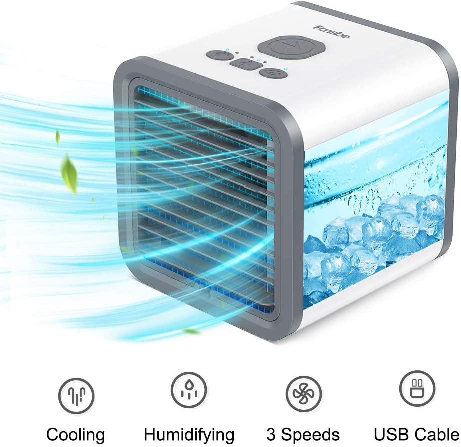 Portable Air Cooler,Mini Air Cooler FANSBE Personal Air Conditional Humidifier with 7 Colors LED Light 3 Speed Desktop Cooling Fan for Home, Restaurant, Office and Outdoor, USB Charging and Quiet