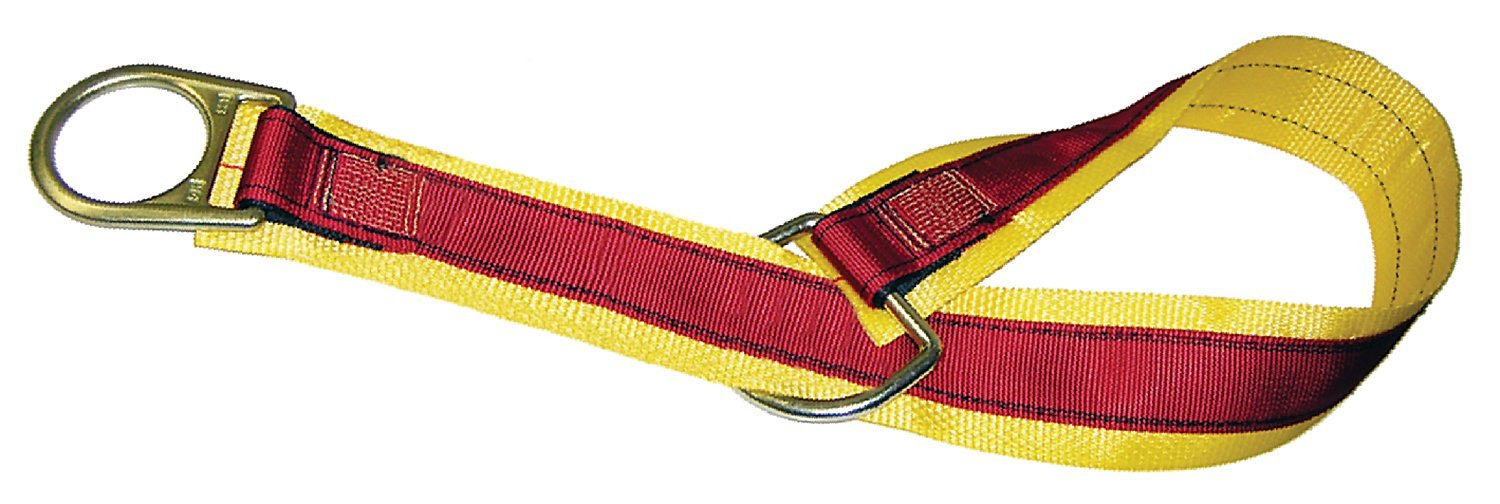 MSA 10023490 Nylon Anchorage Connector Strap with Double D-Ring, Yellow, 5-Feet