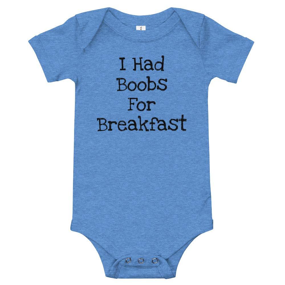 Alpha5StarDeals I Had Boobs for Breakfast Breastfeeding Baby T-Shirt