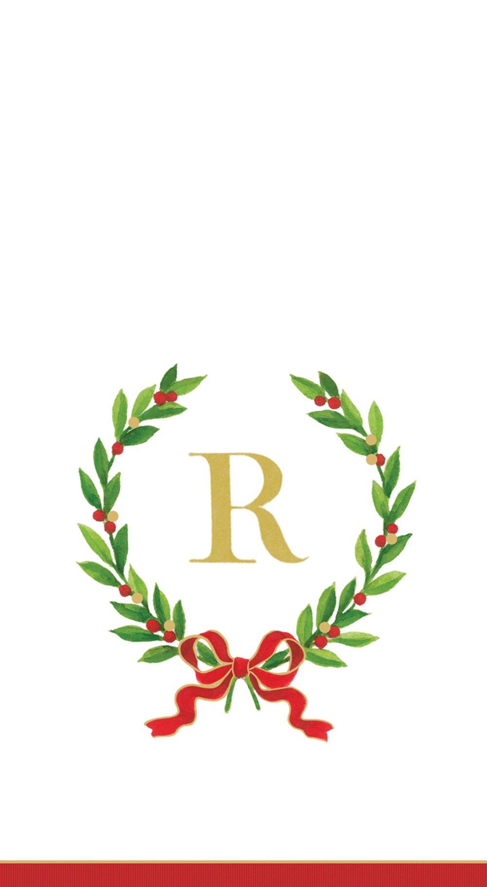 Entertaining with Caspari Christmas Laurel Wreath Paper Guest Towels, Monogram Initial R, Pack of 15