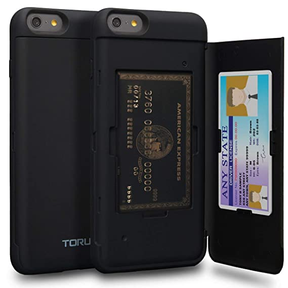 pretty nice 1ac51 d17ad TORU CX PRO iPhone 6S Plus Wallet Case Black with Hidden Credit Card Holder  ID Slot Hard Cover & Mirror for iPhone 6S Plus/iPhone 6 Plus - Matte Black