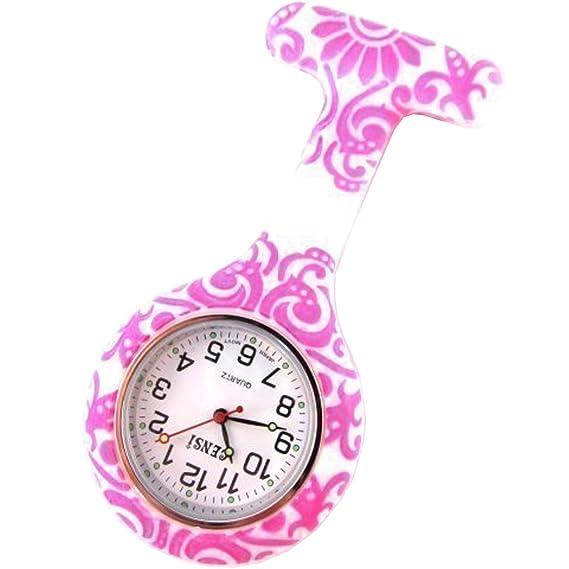 Reloj Bolsillo Silicona Diseño Floral & Remolinos Túnica Enfermera Pila Notebook