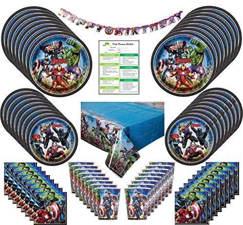 Marvel Avengers Party Supplies Pack: Big/Small Plates, Cups, Napkins, Table Cover, Banner-16 Guests -
