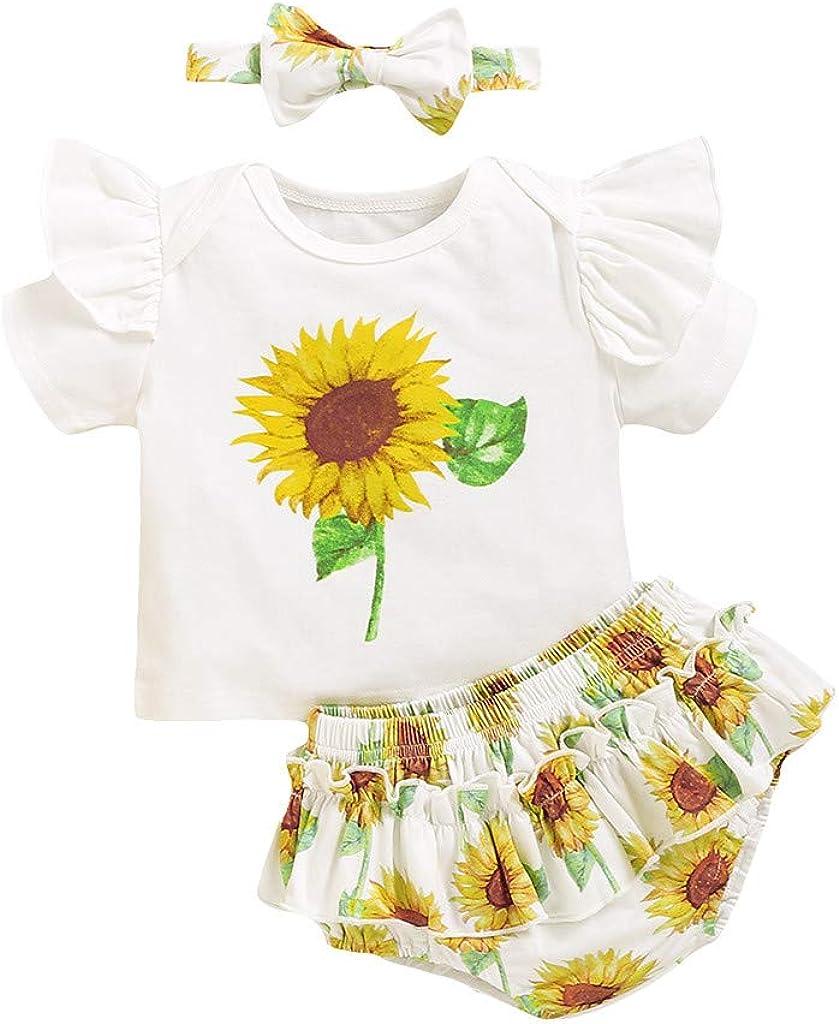 BBSMLIN Ropa Bebe Niña Verano 2020 6 a 24 Meses Recién Nacido Bebé Ropita de Conjunto Tres Piezas, Girasol Camiseta de Manga Corta + Pantalón Cortos