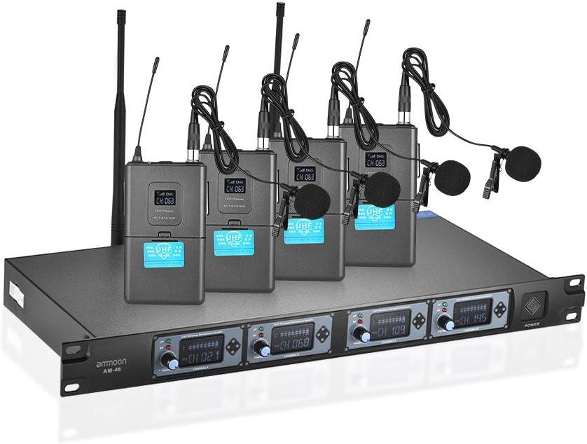 ammoon Sistema de Micrófono de Mano Profesional 4D-B 4 Canales UHF Inalámbrico 4 Micrófonos 1 Receptor Inalámbrico Cable de Audio de 6,35 mm