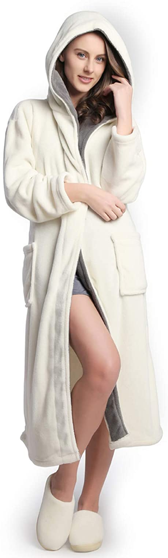 KEMUSI Hooded Herringbone Women's Soft Spa Long Kimono Bathrobe,Comfy Full Length Warm Nightdress