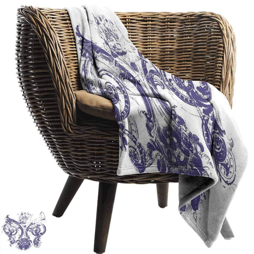 vanfan-home Fleur De Lis Camping Blanket,Digital Grunge Lily Emperor Flag Victorian Kingdom Imperial Theme Print Double-Sided Flannel Fleece Made with Plush Microfiber (62''x60'')-Purple White