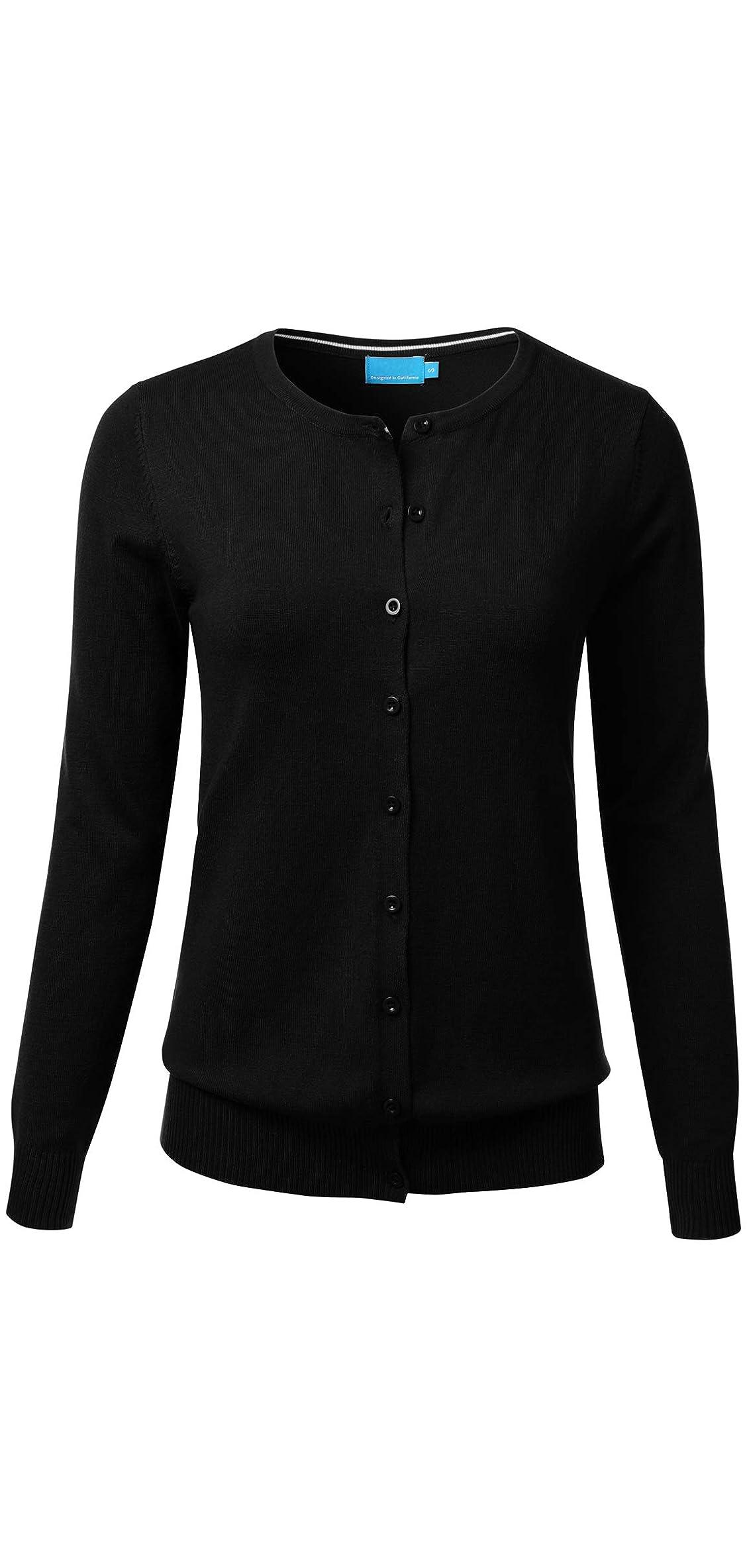 Women's Button Down Crew Neck Long Sleeve Soft Knit