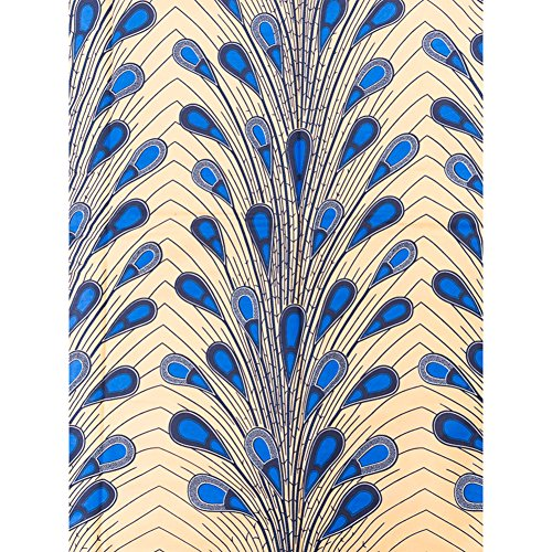 Tribal Fabric by The Yard Real Wax Blue Beige Feather Design 6 Yards rw2174