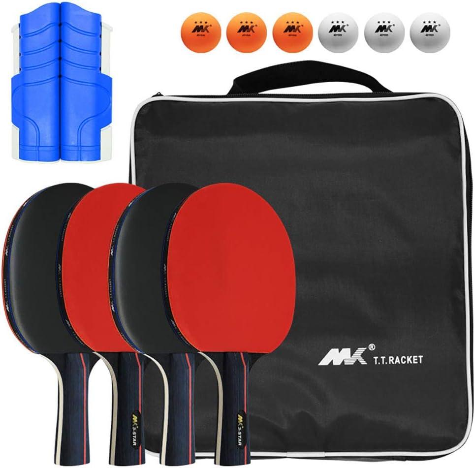 port/átil Mesa de Ping Pong Set con 4 Raquetas FHISAO Ping Pong Paddle Set 6 Ping-Pong Bolas y 1 retr/áctil Mesa de Ping Pong Neto Gran Regalo para Interiores o Exteriores Juegos,A