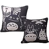 Elviros Coton Lin Blend Décoratif Housse de Coussin 45x45 cm [ 18x18'' ] - [Lot de 2] Totoro