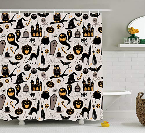 Ambesonne Vintage Halloween Shower Curtain, Halloween Cartoon Jack o Lantern Tombstone Skulls and Bones, Fabric Bathroom Decor Set with Hooks, 70 inches, Light Grey Multicolor]()