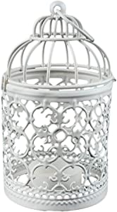 Daliuing Birdcage Metal Candleholder Vintage Home Decorative Table Floor Tall Birdcage Candle Holder for Home Size 18x8cm (White)