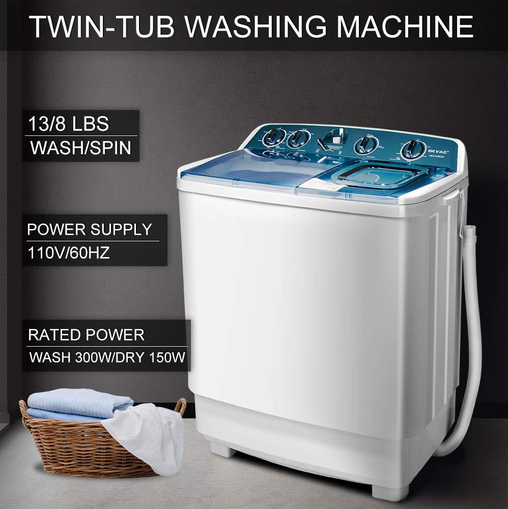 OKVAC Portable Washing Machine Twin Tub, 21lbs Load Capacity, Wash and Spin, Semi-Automatic by OKVAC
