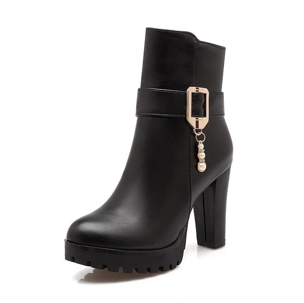 AllhqFashion Women's Zipper Round Closed Toe High-Heels PU Low-top Boots, Black, 35 by AllhqFashion