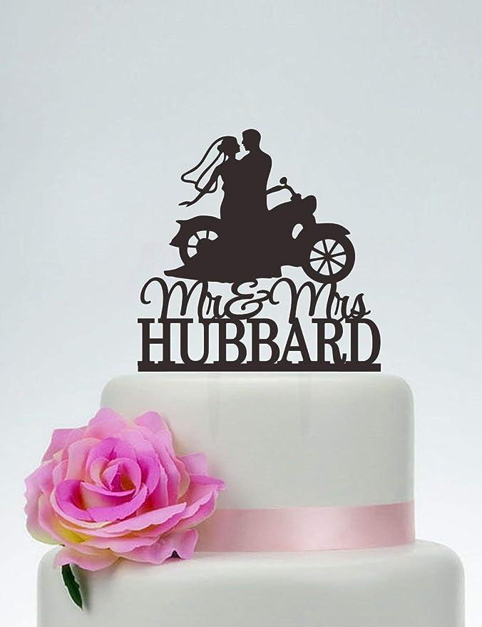 Decoración para tarta de boda con el último nombre, novia y novio en silueta de motocicleta, decoración ...